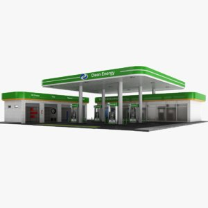 3D model real gas station cleaning