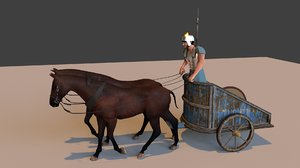 horse cart ancient 3D model