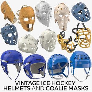 3D vintage ice hockey helmets