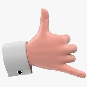 3D cartoon man hands rigged