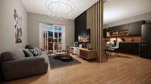 modern living room kitchen model