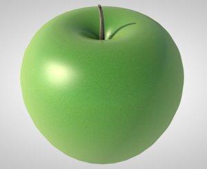 apple green fruit food 3D model