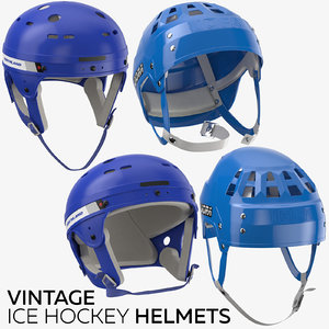 3D model vintage ice hockey helmets