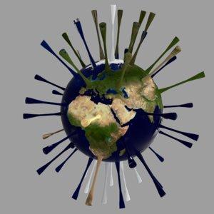 3D earth virus corona