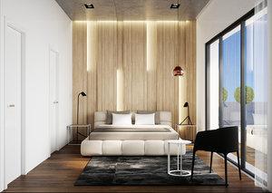 3D render scene modern bedroom