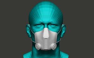 3D antivirus mask model