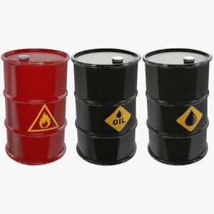 3D model oil barrels