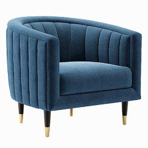3D fluted juno velvet upholstered