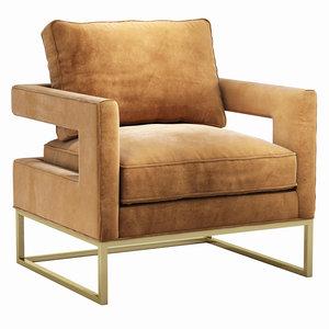 avery cognac velvet chair model