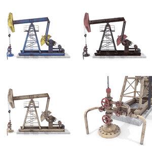 3D oil pumpjack pack model