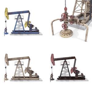 oil pumpjack pack 3D model