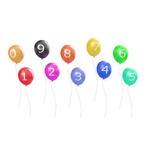 3D numbers baloons model