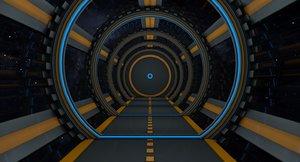 3D sci fi tunnel model