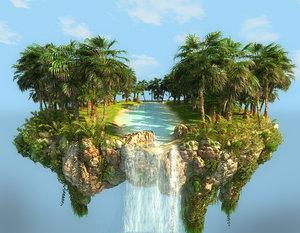 levitating island hd 3D model