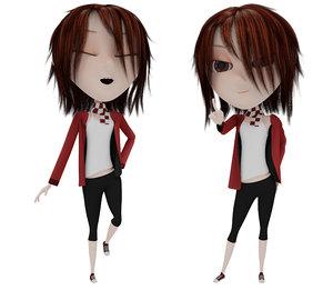 girl cartoon rigged 3D
