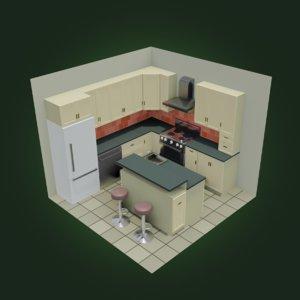 3D cartoon kitchen furniture