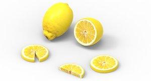 3D lemon fruit food