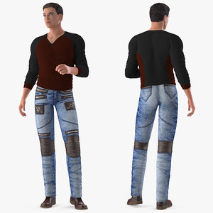 man urban style clothing 3D model