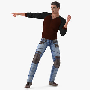 3D man urban style clothing model
