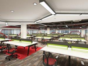 public office area interior 3D