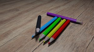 wooden coloured pencil 3D