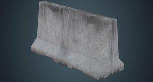 3D model concrete barrier 3b