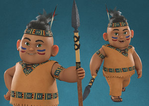 native american indian red 3D model
