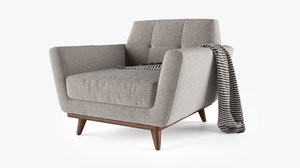 joybird hughes chair ottoman 3D