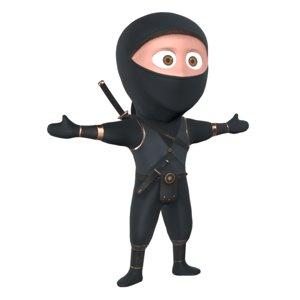 stylized ninja warrior character 3D model
