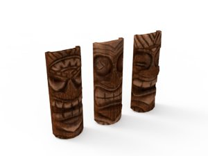 tiki masks 3D model