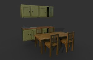 old kitchen furniture table chairs 3D model