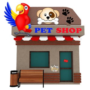 cartoon pet shop model