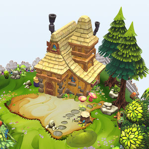 3D cartoon fantasy island environment model