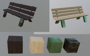 benches wood 3D model