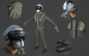 3D pilot pbr model