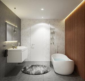 render scene modern bathroom 3D model