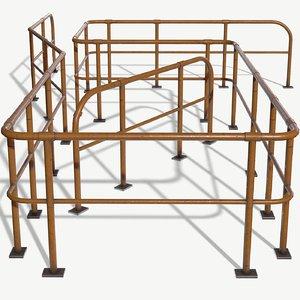 3D modular handrail pbr ready model