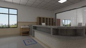 interior registration room detention 3D model