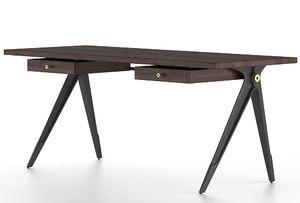 oak double drawer 3D model