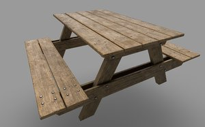 realistic picnic table 3d model