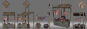 stand meat stall model