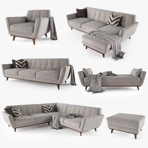 joybird hughes sofa interior 3D