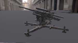 flak 88mm flukabwehrkanone 3D model