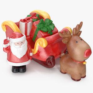 3D santa claus sleigh decorative model