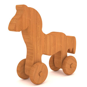 3D wooden horse toy model