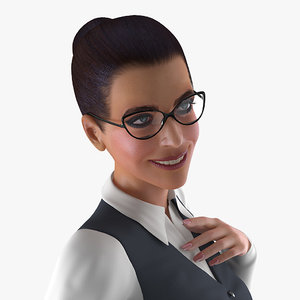 3D business style woman rigged