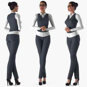 business style woman rigged 3D model