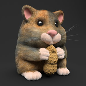 3D hamster toy peanut model