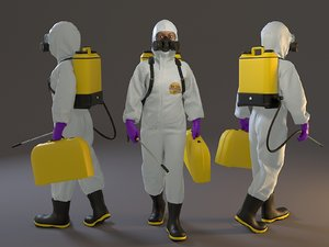 3D female biohazard suit acc