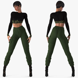 woman casual clothes female rigged 3D model
